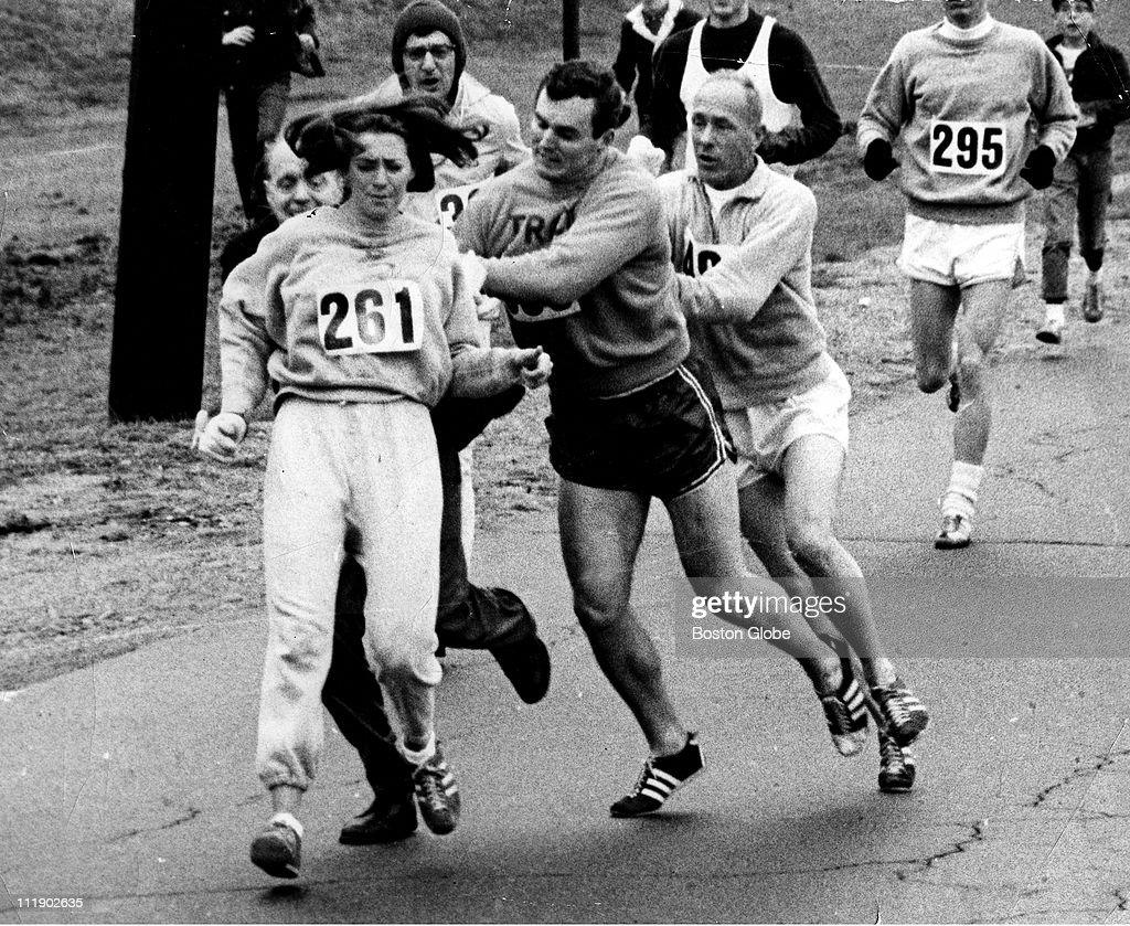 Kathy Switzer roughed up by Jock Semple during Boston Mararthon.