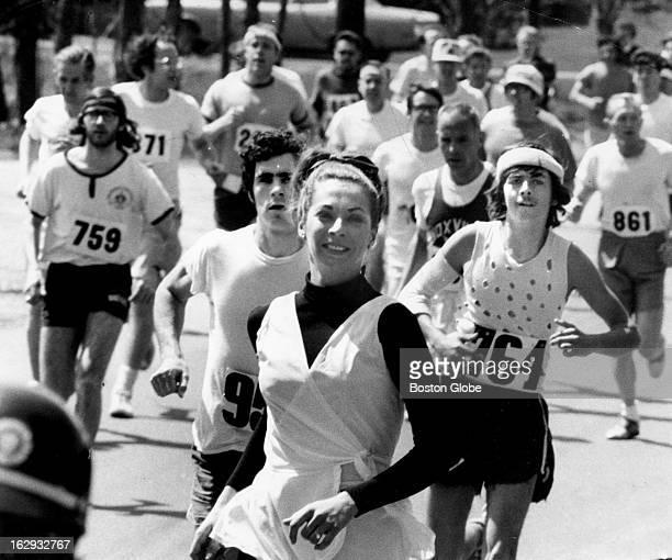 Kathy Switzer runs in the Boston Marathon on April 19 1971 She was the women's winner in the race