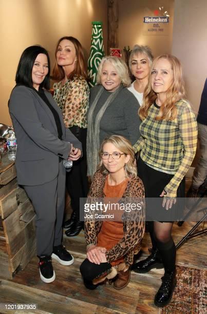 Kathy Valentine Belinda Carlisle Gina Schock Alison Ellwood Jane Wiedlin and Charlotte Caffey stop by TheWrap Studio sponsored by Heineken at...