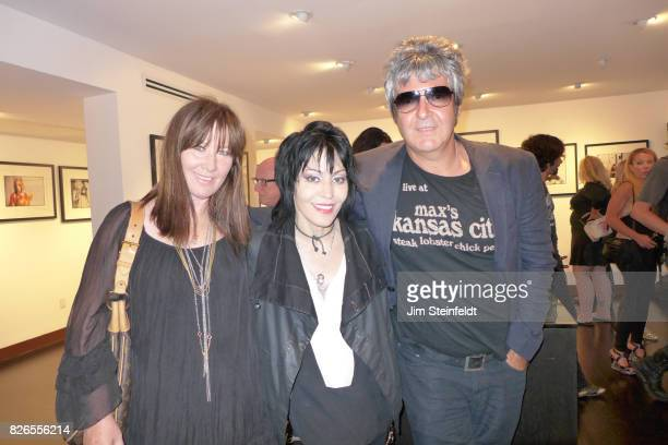 Kathy Valentine Joan Jett and Clem Burke pose for a portrait at the Chris Stein photo exhibit at the Morrison Hotel Gallery at the Sunset Marquis...