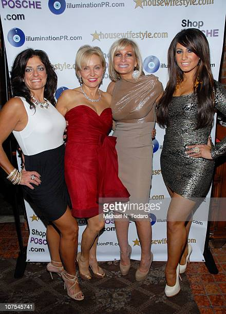 Kathy Wakile Kim Granatell Kim DePaola and Tracy DiMarco attend the New Jersey Housewives Holiday party at Novelli Restaurant on December 12 2010 in...