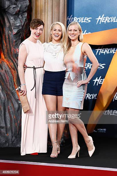 Kathy Weber Angelina Heger and Anneke Duerkopp attend the Europe premiere of Paramount Pictures 'Hercules' at CineStar on August 21 2014 in Berlin...