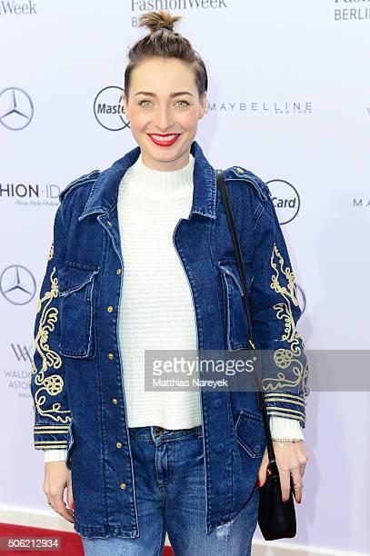 Kathy Weber atends the Anne Gorke show during the MercedesBenz Fashion Week Berlin Autumn/Winter 2016 at Brandenburg Gate on January 22 2016 in...