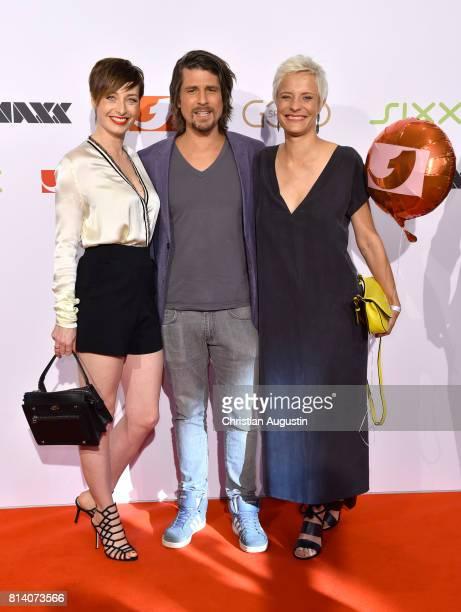 Kathy Weber Tommy Scheel and Seraphina Kalze attend the program presentation of the television channel ProSiebenSat1 on July 13 2017 in Hamburg...