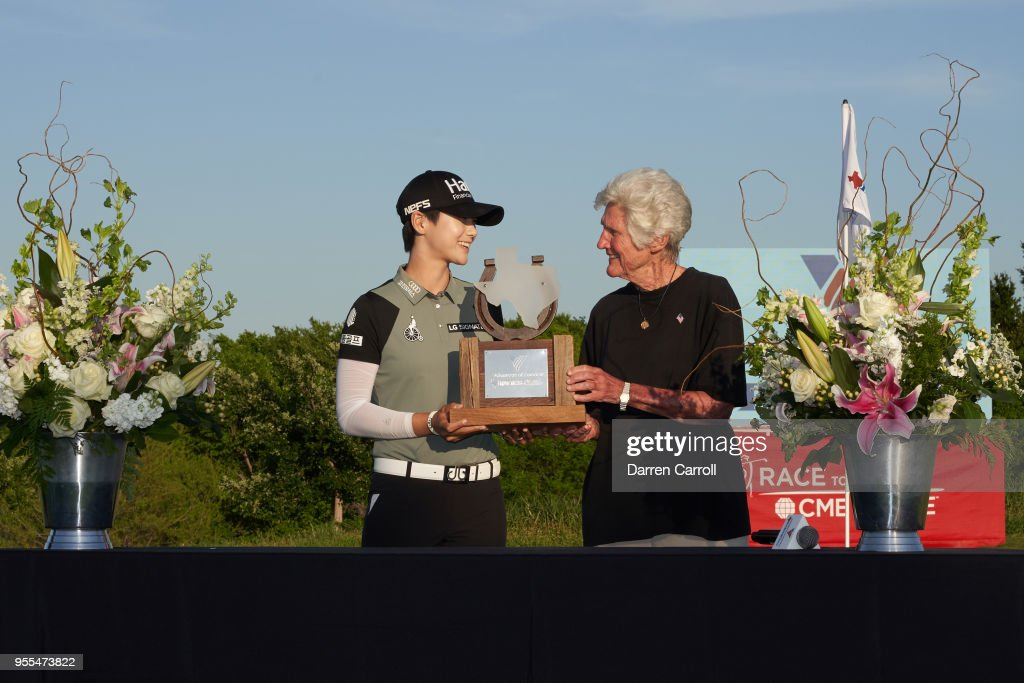 Kathy Whitworth presents the champion's trophy to Sung Hyun Park of South Korea following the 2018 Volunteers of America LPGA Texas Classic at Old American Golf Club on May 6, 2018 in The Colony, Texas.