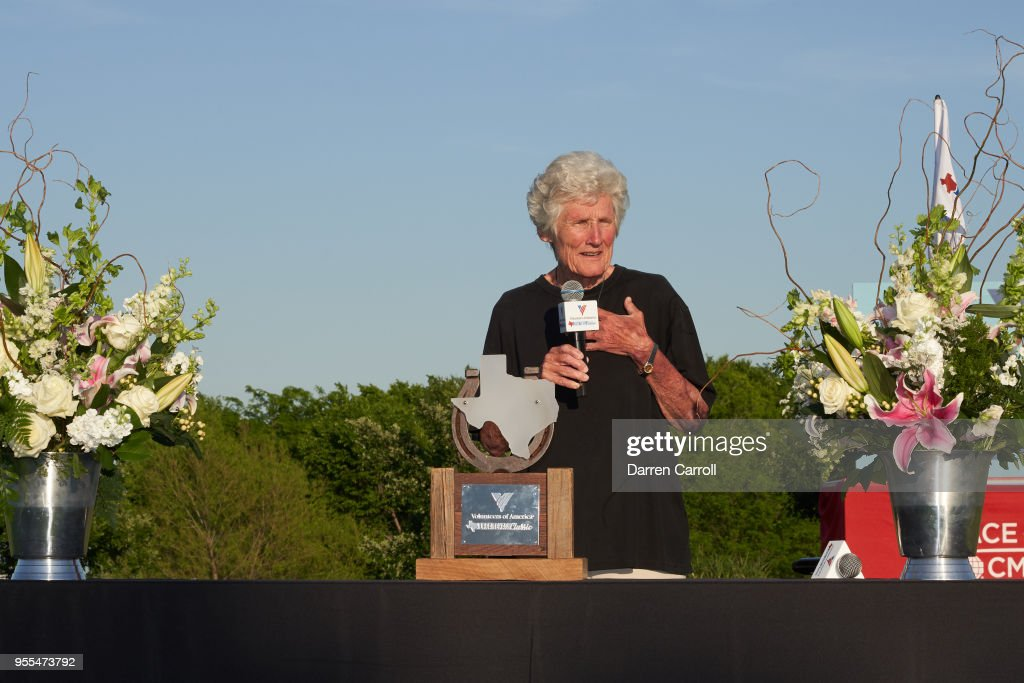 Kathy Whitworth speaks at the trophy presentation following the 2018 Volunteers of America LPGA Texas Classic at Old American Golf Club on May 6, 2018 in The Colony, Texas.