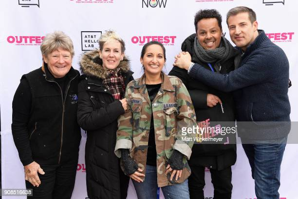 Kathy Wolfe Frances Wallace Outfest director of programming Lucy MukerjeeBrown Paul Struthers and producer Christopher Racster attends Outfest Queer...
