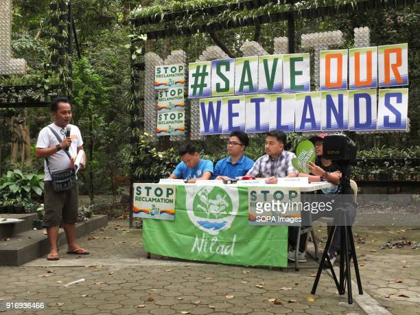 Kathy Yamzon Deputy Secretary General of Militant group BAYANNCR introduce the panelist at the start of the press conference The Green groups NILAD...