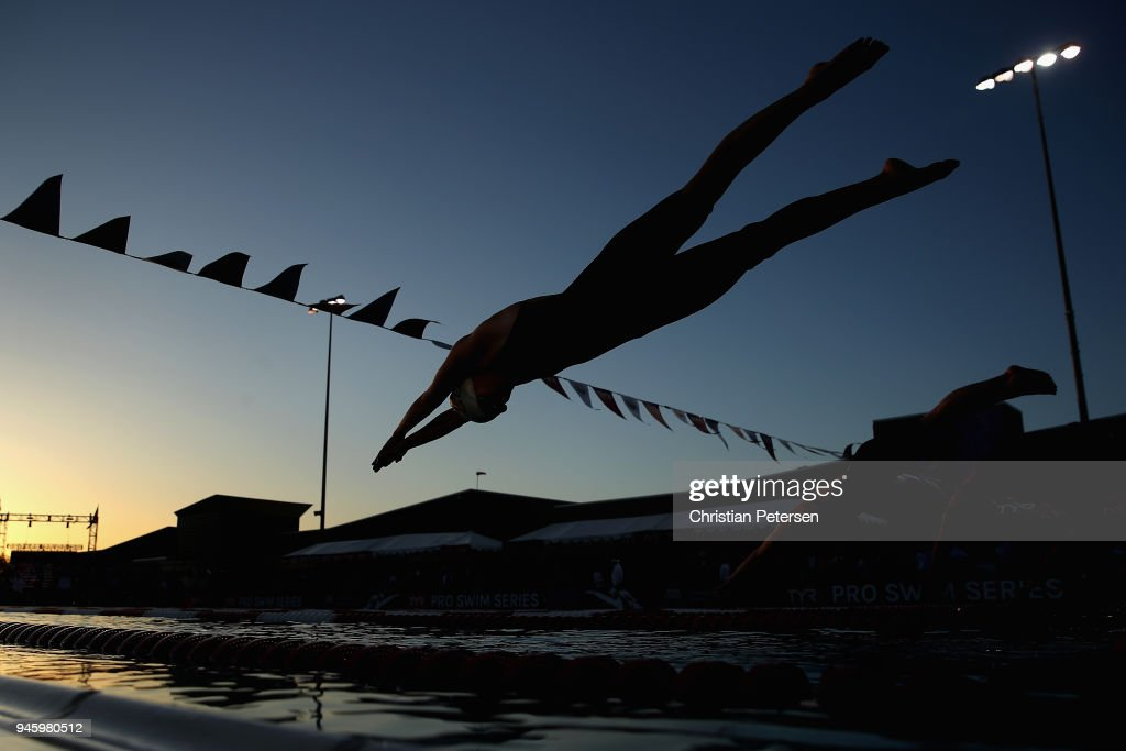 Kati Hage competes in the Womens 100 LC Meter Breaststroke D final during day two of the TYR Pro Swim Series at the Skyline Aquatic Center on April 13, 2018 in Mesa, Arizona.