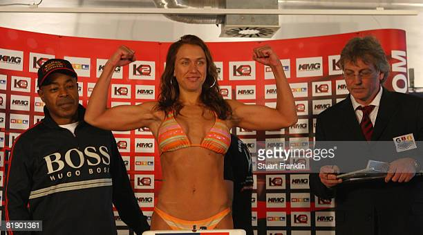 Kati Katz of USA stands on the scales for the judges during the public weigh in at a Karstadt sports shop on July 11, 2008 in Hamburg, Germany.