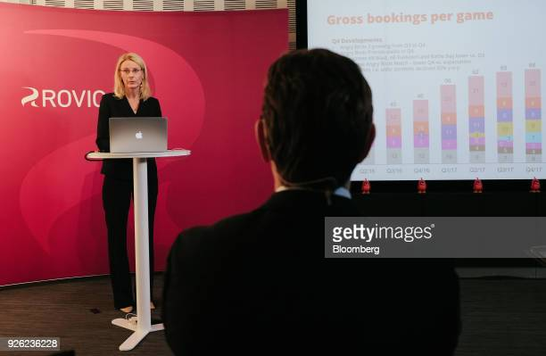 Kati Levoranta chief executive officer of Rovio Entertainment Oyj speaks during a news conference in Espoo Finland on Friday March 2 2018 The maker...