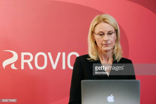 Kati Levoranta chief executive officer of Rovio Entertainment Oyj pauses during a news conference in Espoo Finland on Friday March 2 2018 The maker...