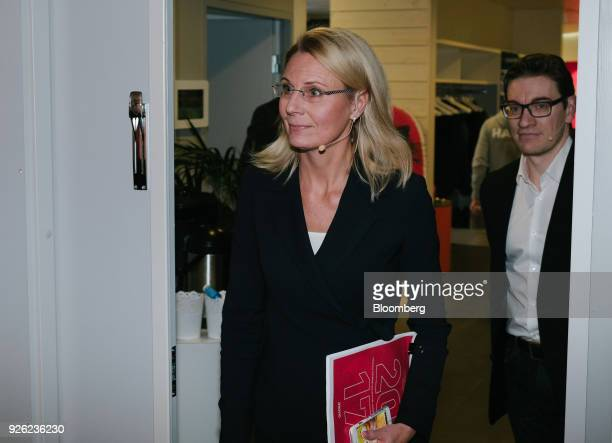 Kati Levoranta chief executive officer of Rovio Entertainment Oyj arrives ahead of a news conference in Espoo Finland on Friday March 2 2018 The...