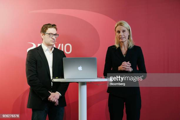 Kati Levoranta chief executive officer of Rovio Entertainment Oyj right and Rene Lindell chief financial officer answer questions during a news...