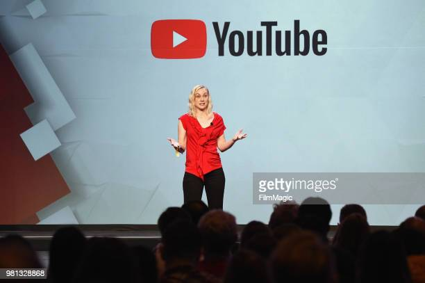 Kati Marton speaks onstage during the YouTube Keynote Building Communities and the Next Generation of Media Companies Panel during VidCon at Anaheim...