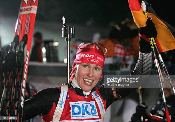 Kati Wilhelm of Germany celebrates the victory after the Womens 4 times 6 km relay of the E.ON Ruhrgas IBU Biathlon World Cup on January 03, 2007 in...