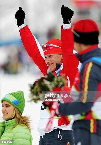 Kati Wilhelm of Germany celebrates winning the silver medal in the Womens Biathlon 125km Mass Start Final on Day 15 of the 2006 Turin Winter Olympic...