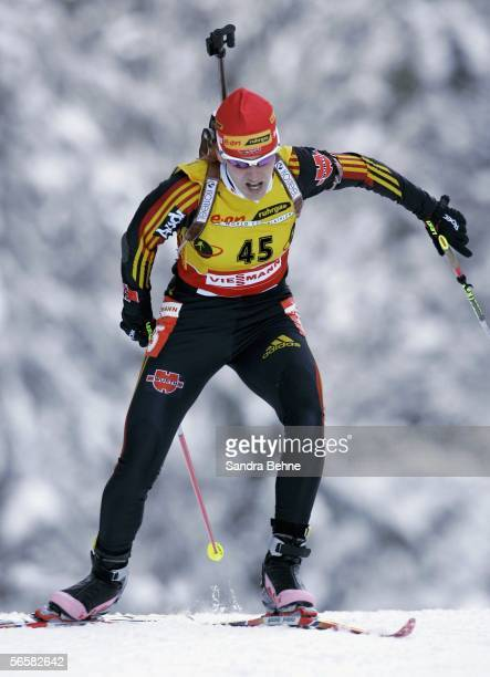 Kati Wilhelm of Germany competes during the women's 7.5 km sprint of the Biathlon World Cup on January 13, 2006 in Ruhpolding, Germany.