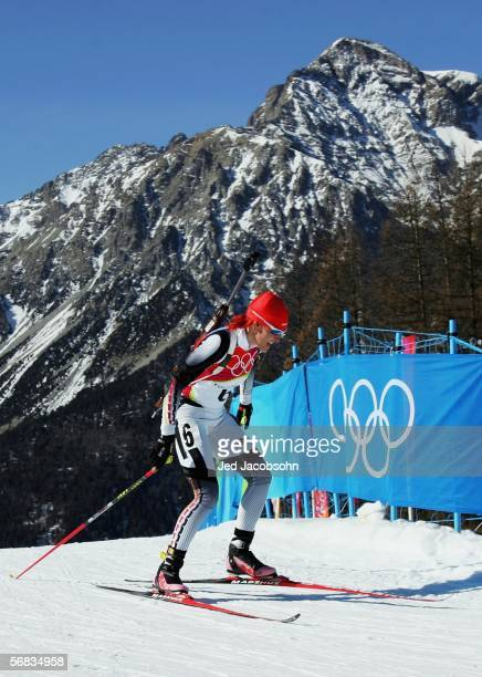 Kati Wilhelm of Germany competes in the Womens Biathlon 15km Individual Final on Day 3 of the 2006 Turin Winter Olympic Games on February 13 2006 in...