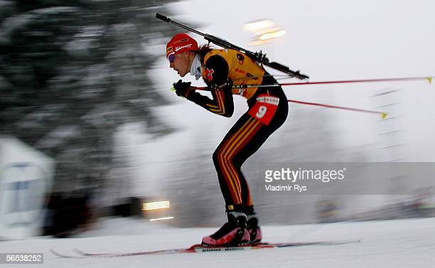 Kati Wilhelm of Germany in action during the womens sprint competition of the E.ON Ruhrgas IBU Biathlon World Cup on January 7, 2006 in Oberhof near...