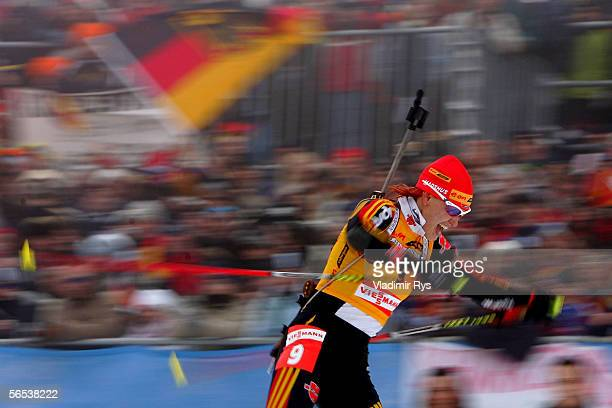 Kati Wilhelm of Germany is action during the womens sprint competition of the E.ON Ruhrgas IBU Biathlon World Cup on January 7, 2006 in Oberhof near...
