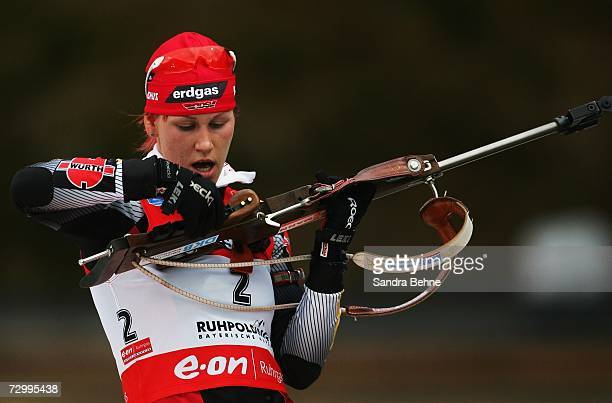 Kati Wilhelm of Germany prepares to shoot during the women's 12.5 km mass start in the Biathlon World Cup on January 14, 2007 in Ruhpolding, Germany.