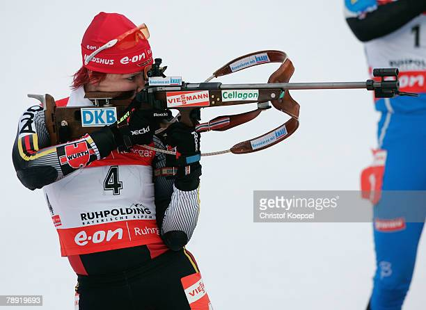 Kati Wilhelm of Germany shoots during the Women 10 km pursuit competition of the IBU Biathlon World Cup on January 13 2008 in Ruhpolding Germany