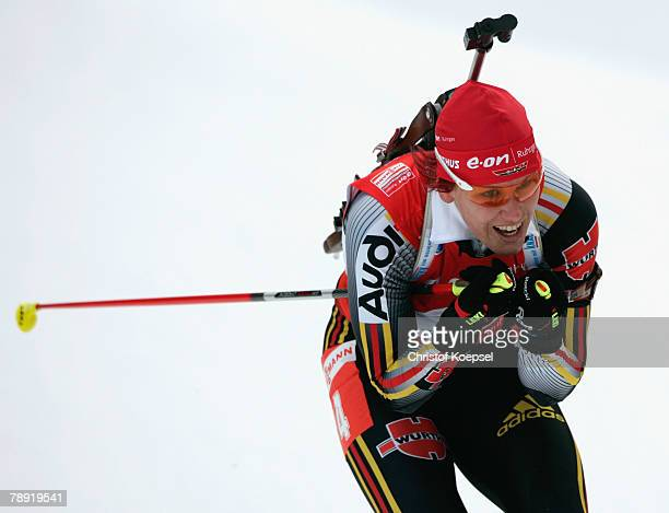 Kati Wilhelm of Germany skates during the Women 10 km pursuit competition of the IBU Biathlon World Cup on January 13 2008 in Ruhpolding Germany