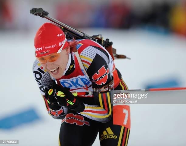 Kati Wilhelm of Germany skates during the Womens 12,5 km mass start of the IBU Biathlon World Championships on February 16, 2008 in Ostersund, Sweden.
