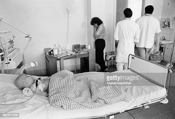 Katia aged 1 and a half in the haematology center in Minsk suffering from leukaemia She died in August 1995
