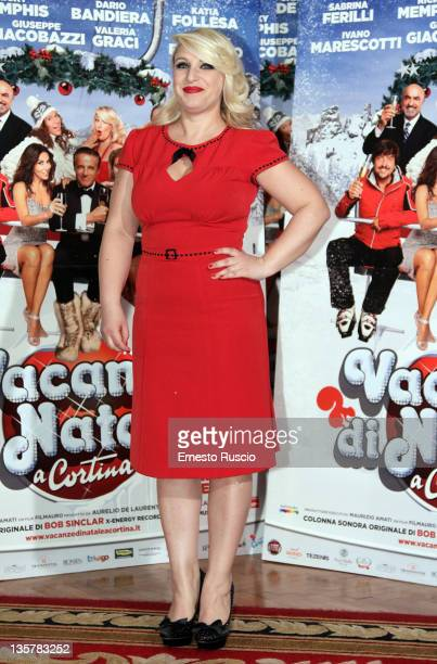 """Katia Follesa attends the """"Vacanze Di Natale A Cortina"""" photocall at St Regis Hotel on December 14, 2011 in Rome, Italy."""