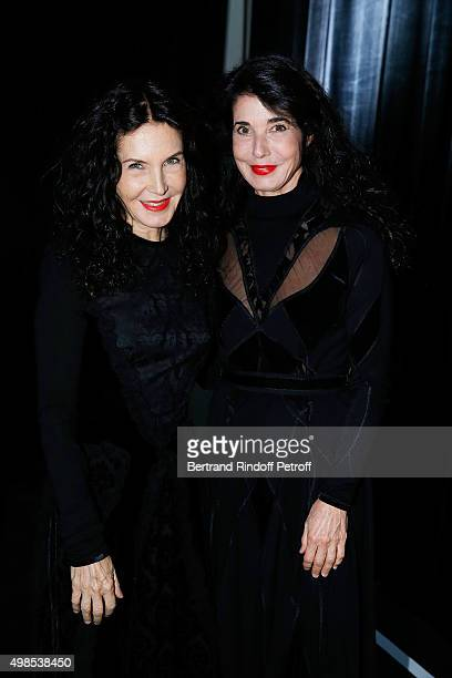 Katia Labeque and Marielle Labeque attend the 'ICCARRE' Auction Cocktail To Benefit AIDS Research At Maison Jean Paul Gaultier on November 23 2015 in...