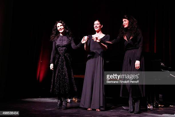 Katia Labeque MarieAgnes Gillot and Marielle Labeque attend the 'ICCARRE' Auction Cocktail To Benefit AIDS Research At Maison Jean Paul Gaultier on...