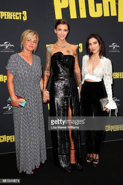Katia Langenheim Ruby Rose and Jess Origliasso arrive ahead of the Australian Premiere of Pitch Perfect 3 on November 29 2017 in Sydney Australia