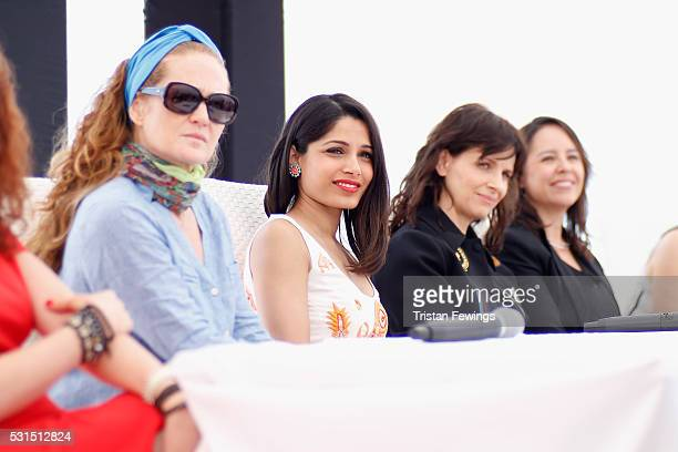 Katia Lund Freida Pinto Juliette Binoche and Patricia Riggen attend the We Do It Together Press Conference and Cocktail Reception during the 69th...
