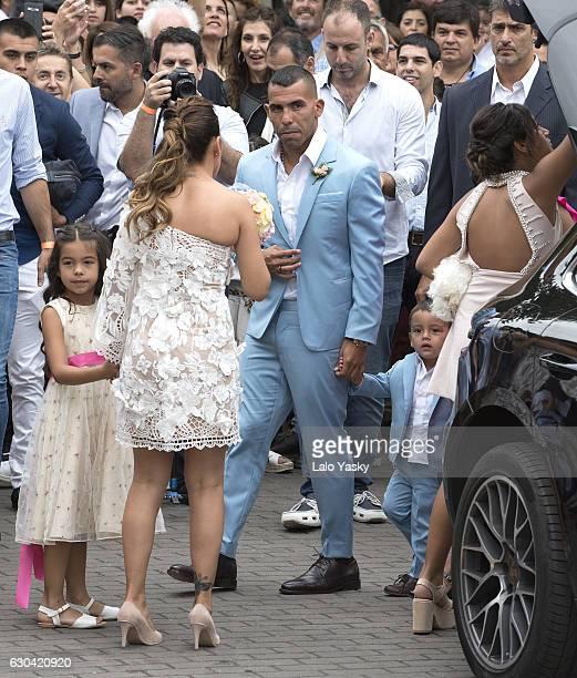 Katia Tevez Vanesa Mansilla Carlos Tevez and Lito Junior Tevez arrive to the San Isidro City Hall for the civil wedding ceremony of Carlos Tevez and...
