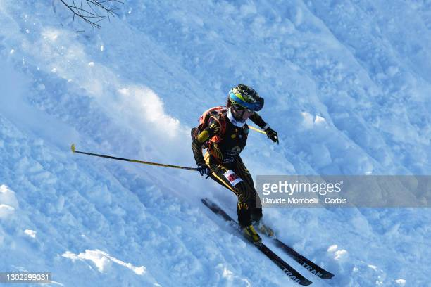 Katia Tomatis in action on the final stretch of the race during Italian Team Ski Mountaineering Championships on February 14, 2021 in ALBOSAGGIA,...