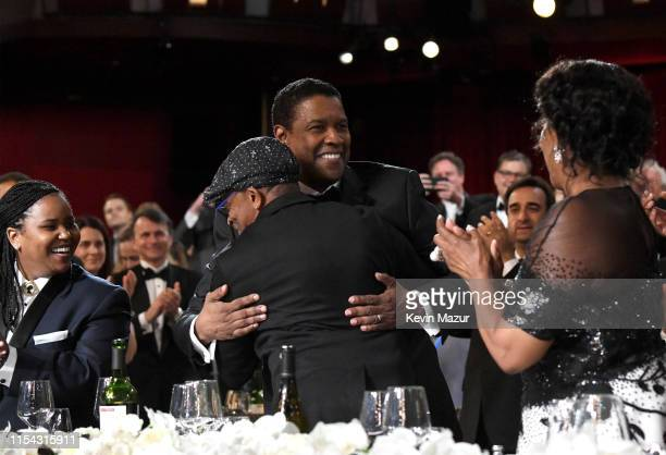 Katia Washington, Spike Lee, honoree Denzel Washington, and Pauletta Washington attend the 47th AFI Life Achievement Award honoring Denzel Washington...