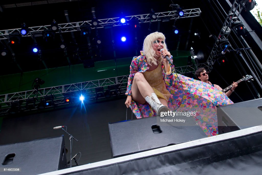 Katie Alice Greer of the band Priests performs at the Pitchfork Festival at Union Park on July 14, 2017 in Chicago, Illinois.