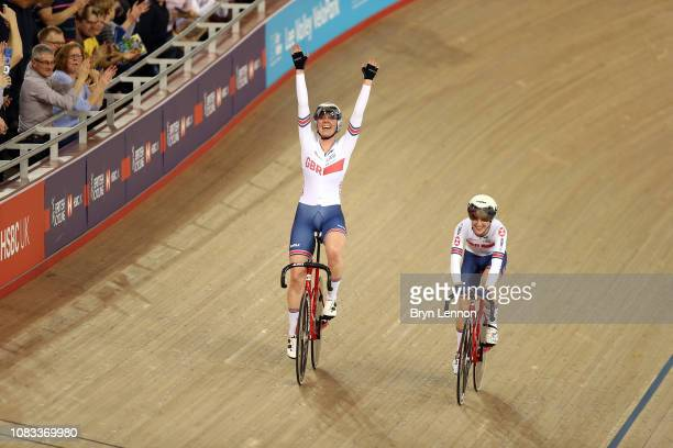 Katie Archibald and Laura Kenny celebrate winning the Women's Madison on day three of the 2018 TISSOT UCI Track Cycling World Cup at Lee Valley...