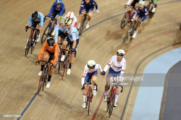 Katie Archibald and Laura Kenny in action on their way to winning the Women's Madison on day three of the 2018 TISSOT UCI Track Cycling World Cup at...