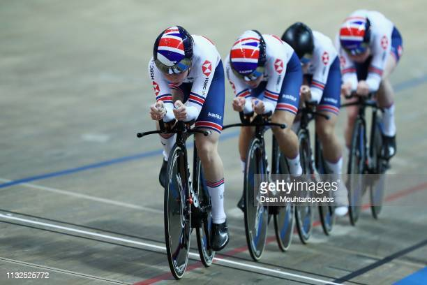 Katie Archibald Elinor Barker Ellie Dickinson and Laura Kenny compete in the Women's team pursuit qualifying on day one of the UCI Track Cycling...