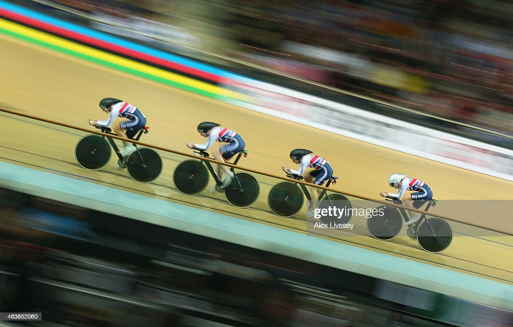 Katie Archibald, Laura Trott, Elinor Barker and Joanna Rowsell of Great Britain Cycling Team compete in the Women's Team Pursuit First Round during day two of the UCI Track Cycling World Championships at the National Velodrome on February 19, 2015 in Paris, France.