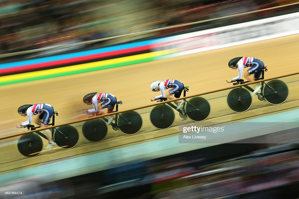 Katie Archibald, Laura Trott, Elinor Barker and Joanna Rowsell of the Great Britain Cycling Team compete in the Women's Team Pursuit qualifying round during day one of the UCI Track Cycling World Championships at the National Velodrome on February 18, 2015 in Paris, France.