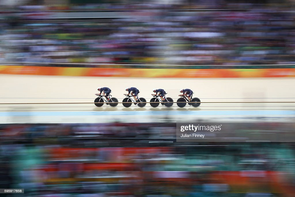 Katie Archibald, Laura Trott, Elinor Barker and Joanna Rowsell-Shand of Great Britain compete in the Women's Team Pursuit Final for the Gold medal on Day 8 of the Rio 2016 Olympic Games at the Rio Olympic Velodrome on August 13, 2016 in Rio de Janeiro, Brazil.