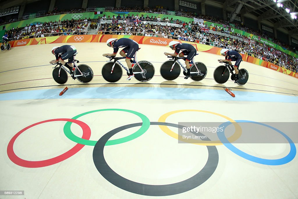 Katie Archibald, Laura Trott, Elinor Barker, Joanna Rowsell-Shand of Great Britain compete in the Women's Team Pursuit Final for the Gold medal on Day 8 of the Rio 2016 Olympic Games at the Rio Olympic Velodrome on August 13, 2016 in Rio de Janeiro, Brazil.