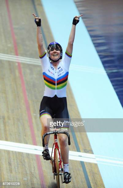 Katie Archibald of Great Britain celebrates winning the Women's Omnium during the TISSOT UCI Track Cycling World Cup at National Cycling Centre on...