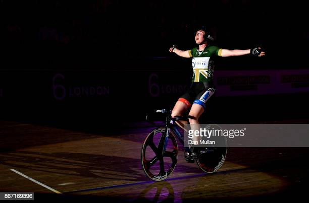 Katie Archibald of Great Britain celebrates winning the Womens Elimination Race on day four of the London Six Day Race at the Lee Valley Velopark...