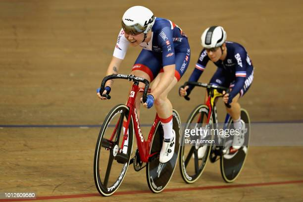 Katie Archibald of Great Britain competes in the Women's Madison during the track cycling on Day Six of the European Championships Glasgow 2018 at...