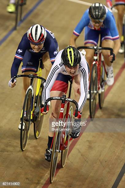Katie Archibald of Great Britain in action during the Women's Madison on day two of the UCI Track Cycling World Cup at the Sir Chris Hoy Velodrome on...